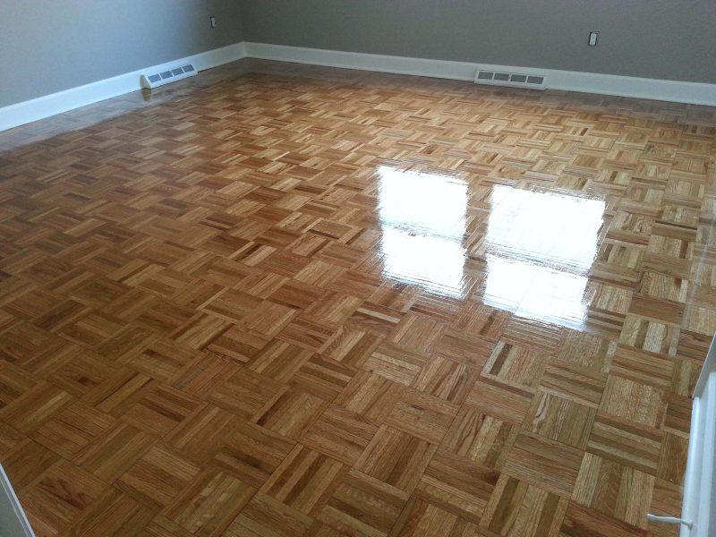 A refinished parquet floor in a Westerville home