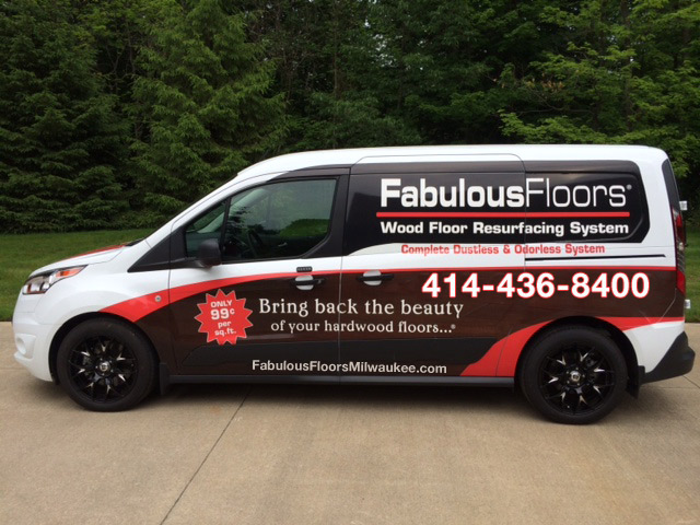 The Fabulous Floors Milwaukee van outside of our office