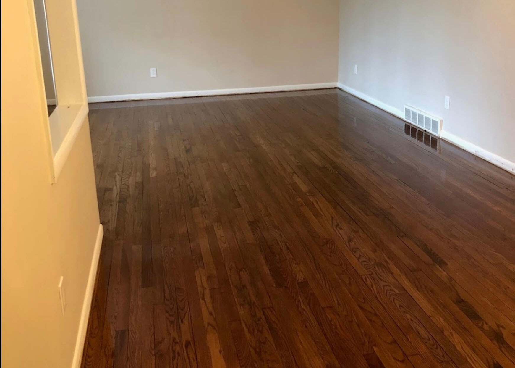 a completed wood floor refinishing project by fabulous floors milwaukee