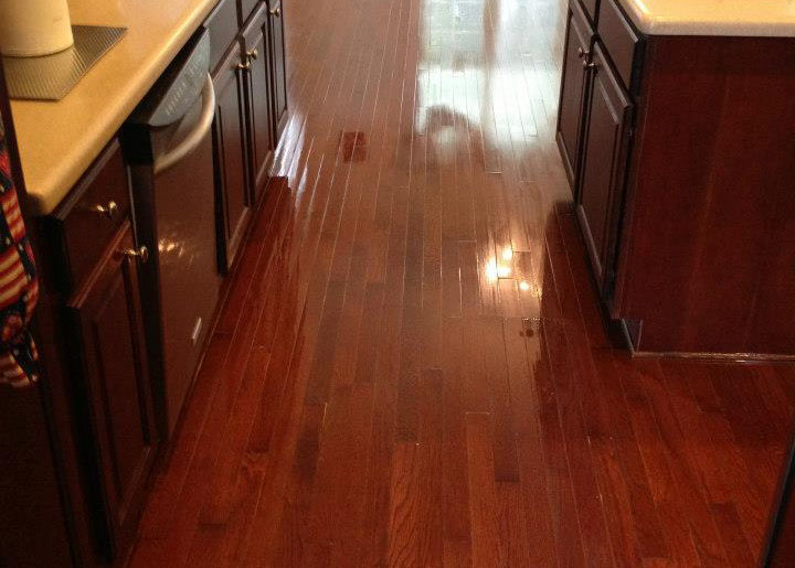 a completed wood floor refinishing project