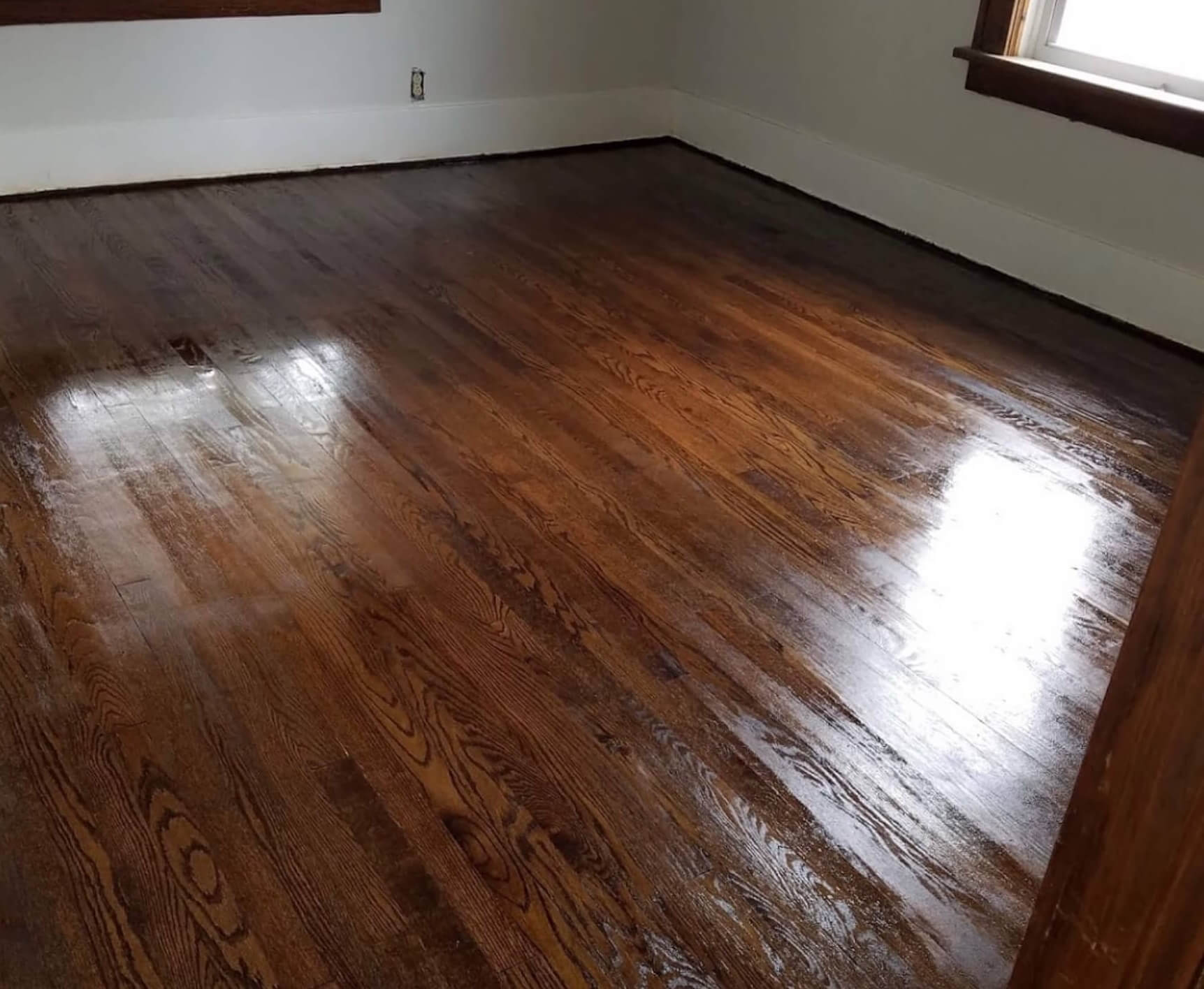 refinished and sparkling clean hardwood floor