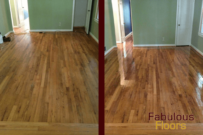 before and after hardwood floor resurfacing in Granville, WI
