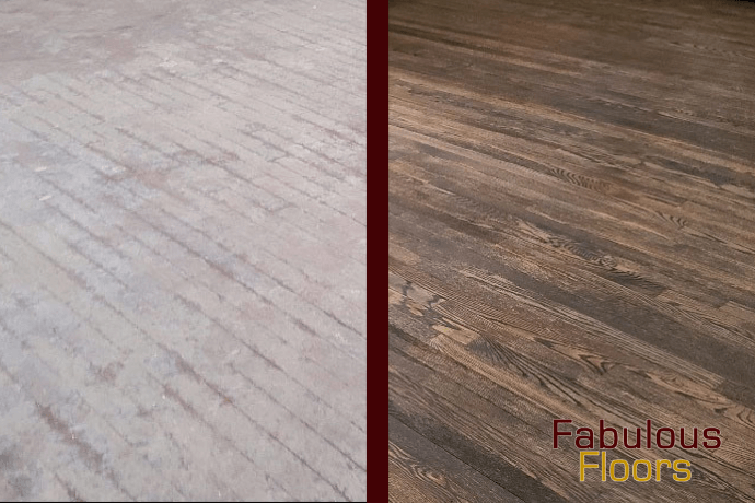 Before and After hardwood floor refinishing in Glendale, WI