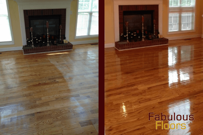Before and After hardwood floor refinishing in west allis, wi