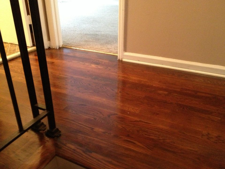 A hardwood floor after it was refinished